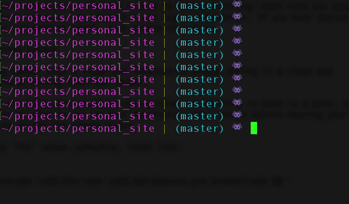 Terminal prompt with current working directory in purple, a yellow vertical pipe, active git branch in cyan, and an alien emoji