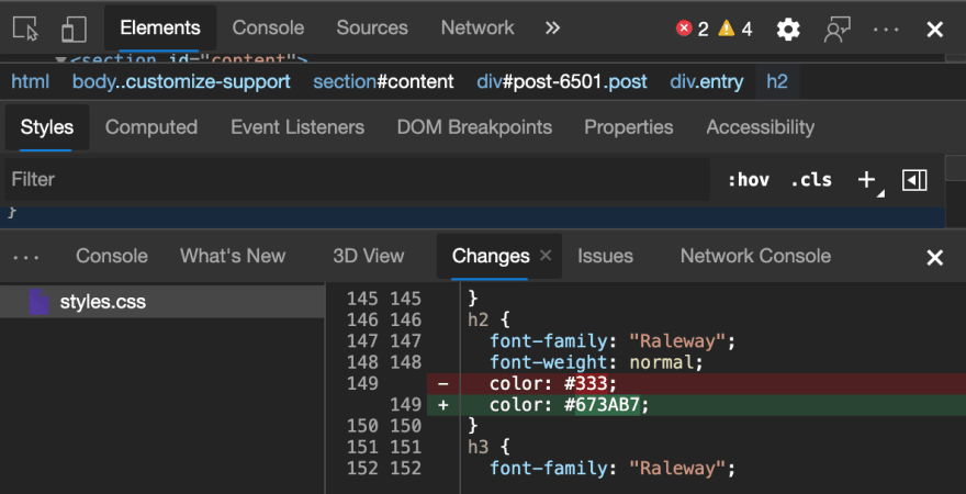 The changes pane showing what happened to the CSS file when you used the developer tools