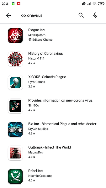 All previously existed coronavirus apps disappeared from the Play Store