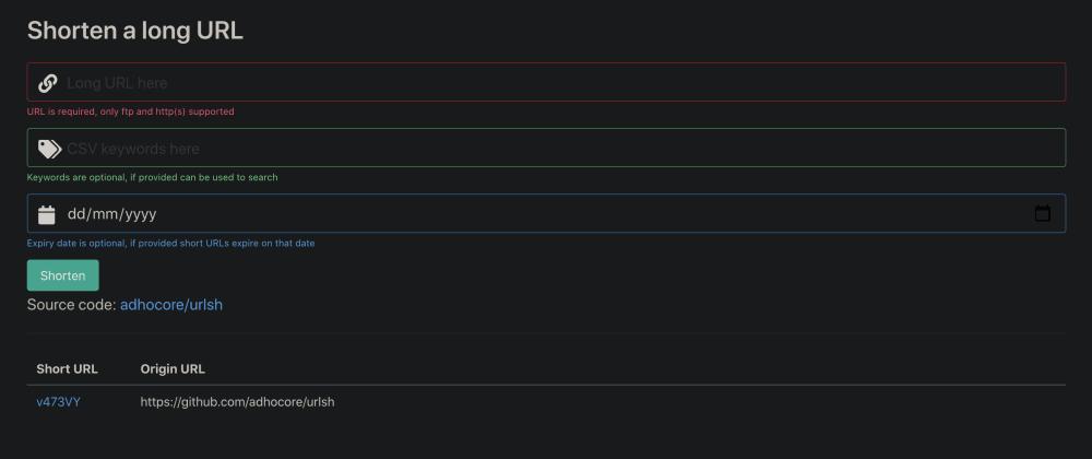 Cover image for GOlang URL shortener service using postgres, redis, bulma