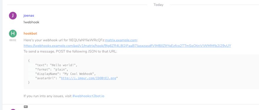 Adding webhooks to Matrix