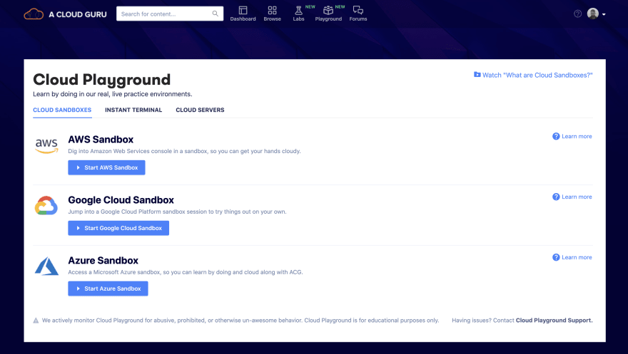 A screenshot of the cloud playground