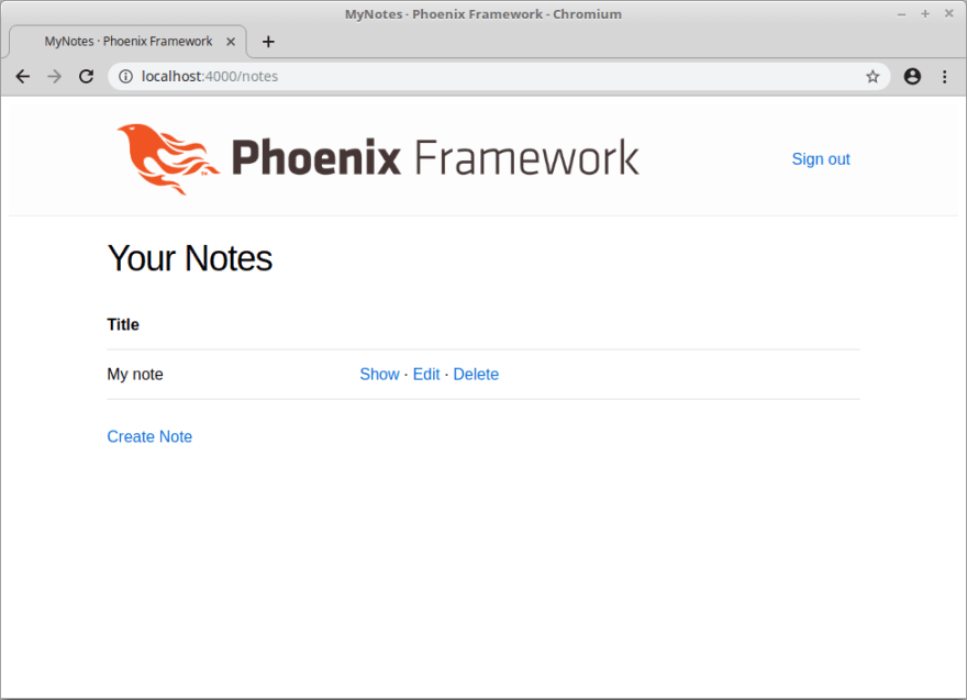 screenshot of the list notes page