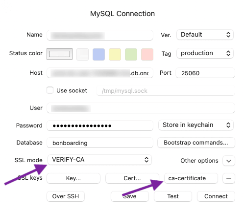 MySQL 8 connection with CA certificate
