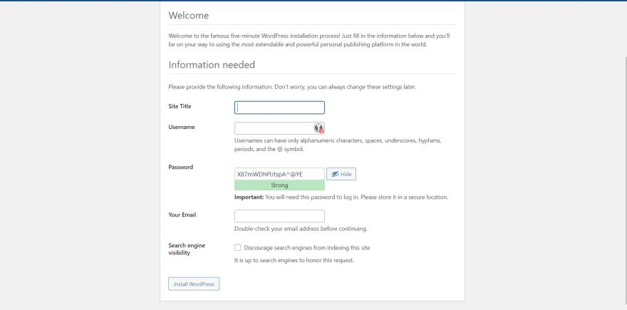 WordPress - configure website