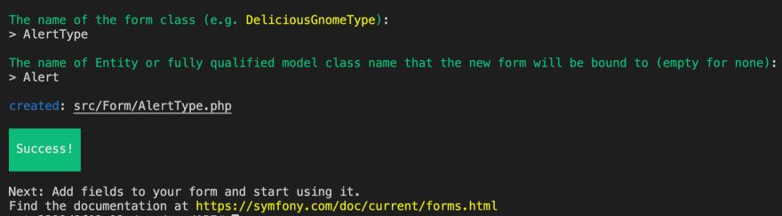 Creating an Alert Form Type