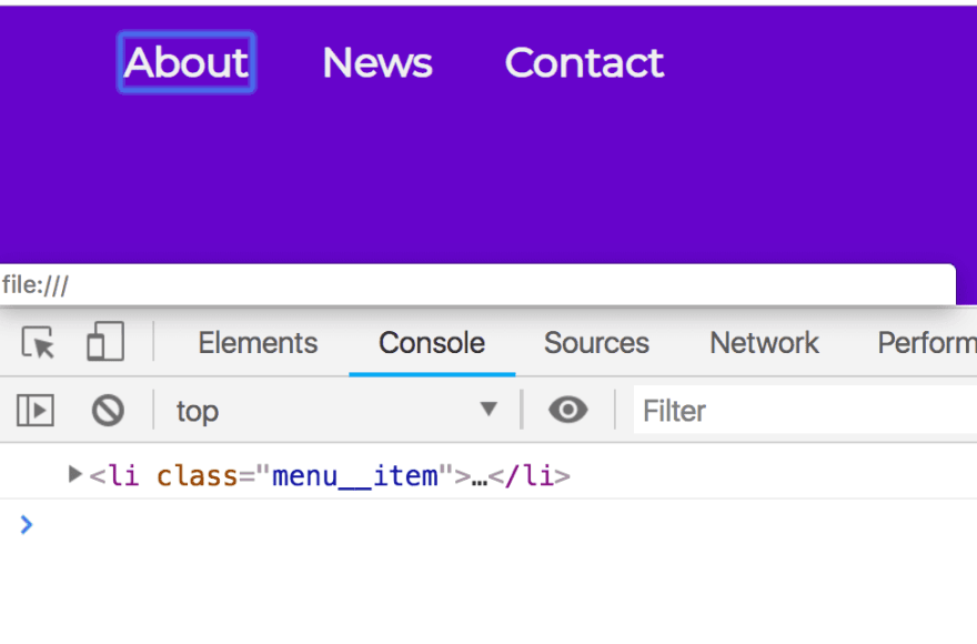 Google Chrome console displaying the list item for About on focus, as that is the context of the parent of this.