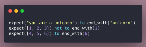 Code snippet of examples using end_with matcher