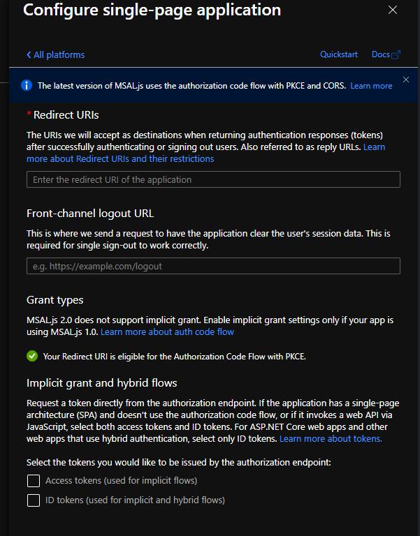Authentication Platform on Azure AD