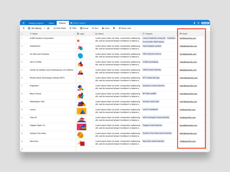 Add client emails to Airtable