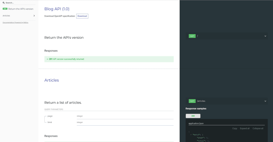 ReDoc documentation landing page