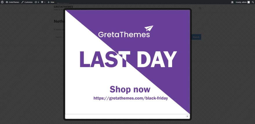 Example of the Black Friday image popup.