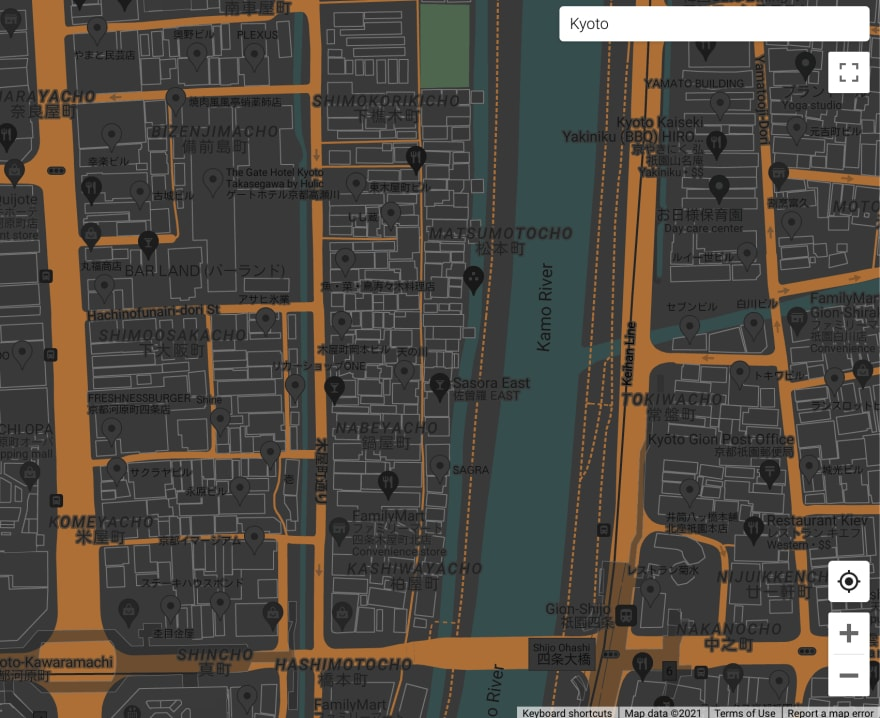 A street map with buildings outlined in medium gray, streets in dark orange, parks in dark green, rivers and canals in dark cyan and other elements in dark shades of gray