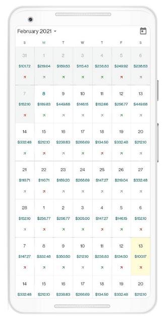 Designing an airfare calendar using Flutter event Calendar