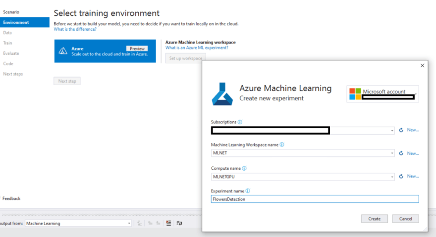 Azure Workspace setup from Visual Studio