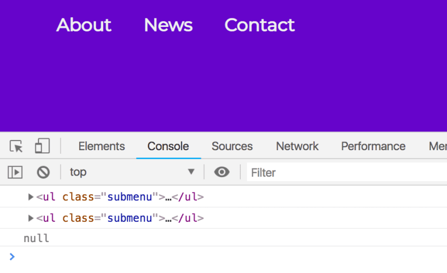 Google Chrome console displaying 2 unordered list elements with the class of submenu and null.