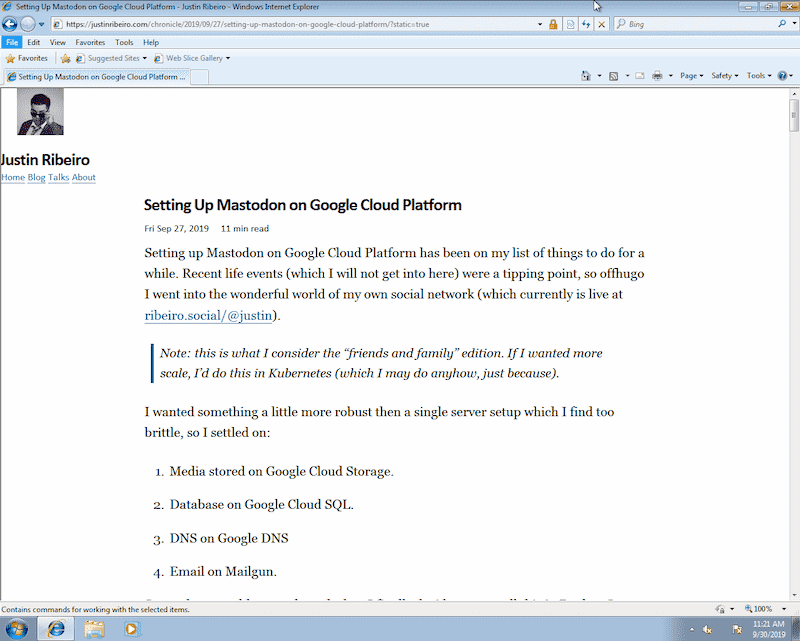 this site running in IE8
