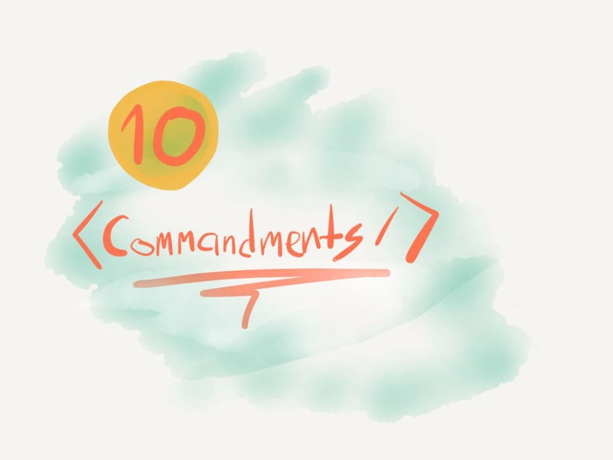 "An illustration depicting the JSX ""<Commandments />"""