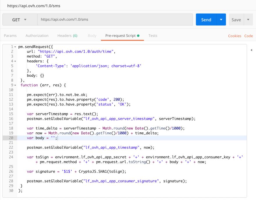 pre-request script tab