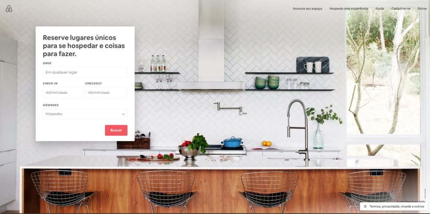 The first screen of Airbnb in Portuguese