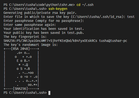 You just generated an SSH public-private keypair!