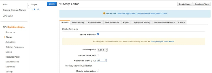 Enabled Cache on AWS