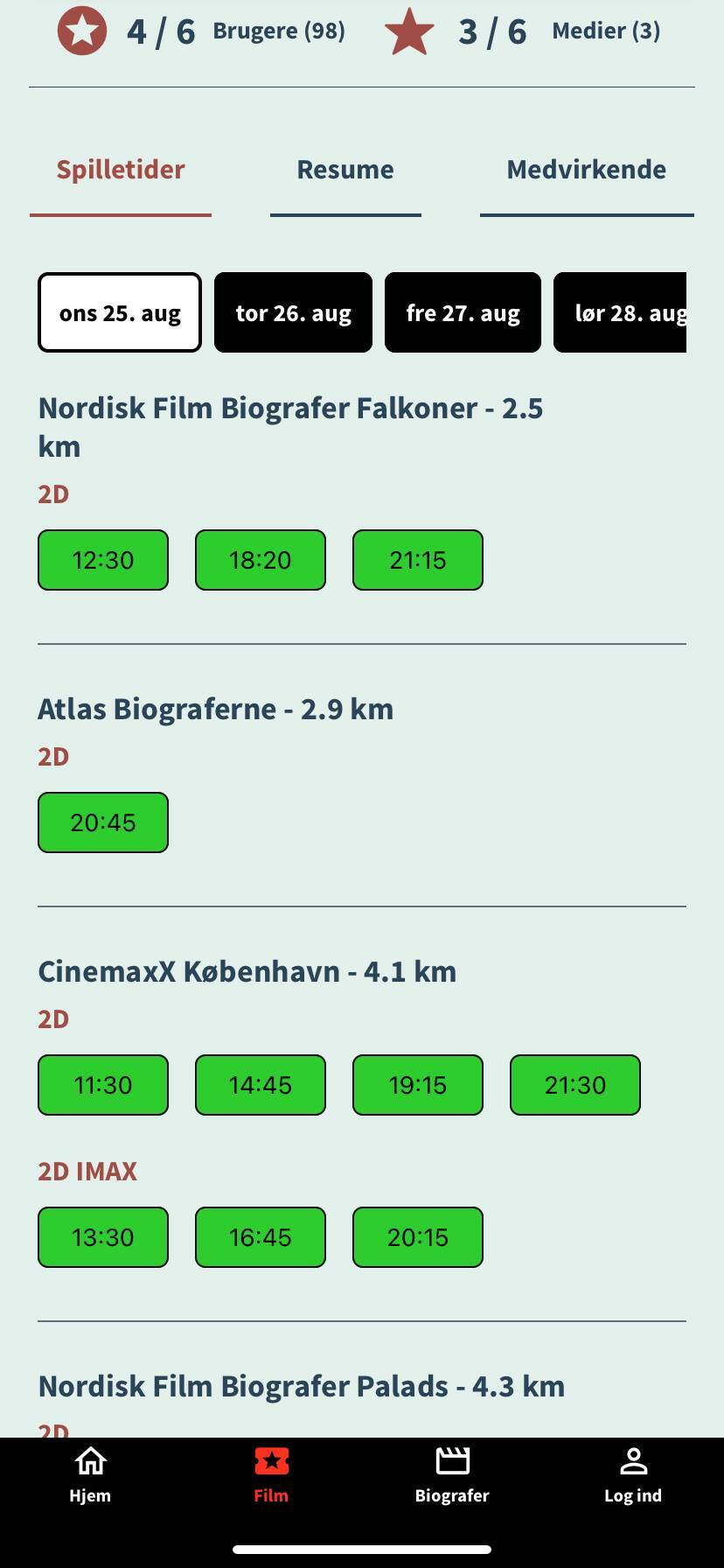 movie show times screenshot kino app