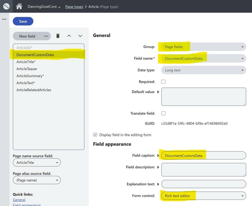 Page Type field editor using DocumentCustomData directly