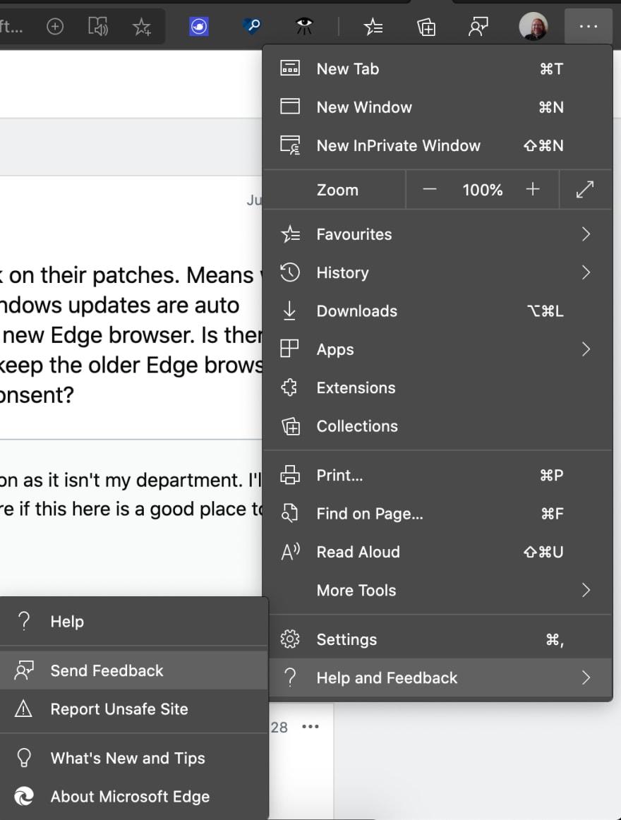 Feedback tool in Microsoft Edge