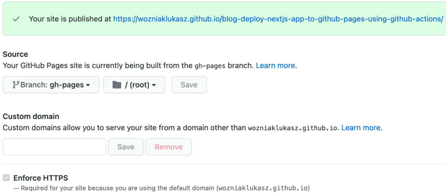 Deploy NextJS app to GitHub Pages using GitHub Actions - GH Pages