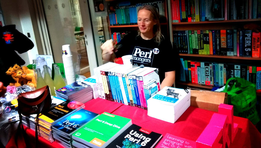 Wendy with all the Perl 6 books
