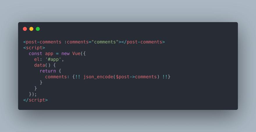 Screenshot of code to echo into Vue component