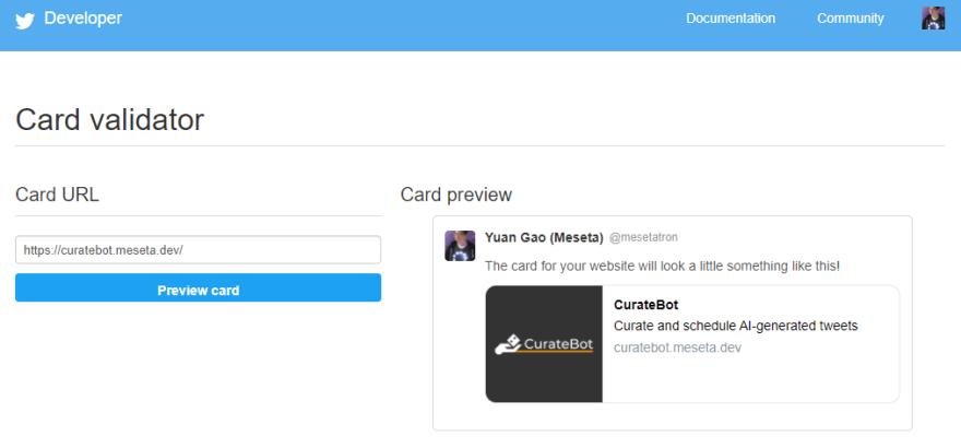 Twitter card validator tool