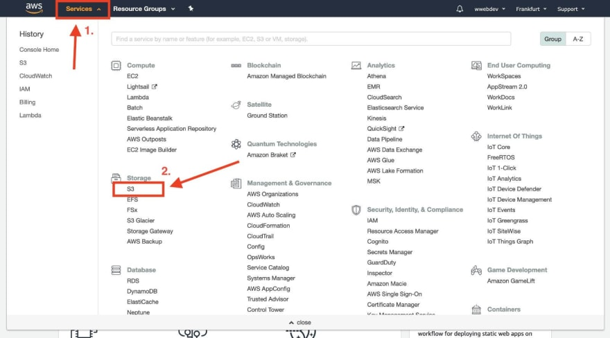 aws s3 service on the top-right menu