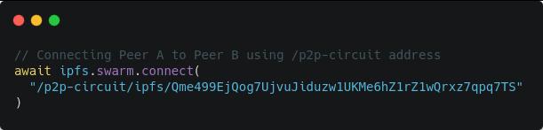IPFS Swarm Connect p2p circuit