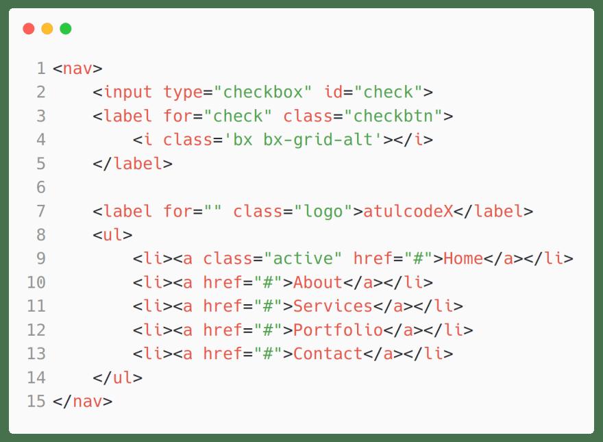 Responsive navbar HTML code