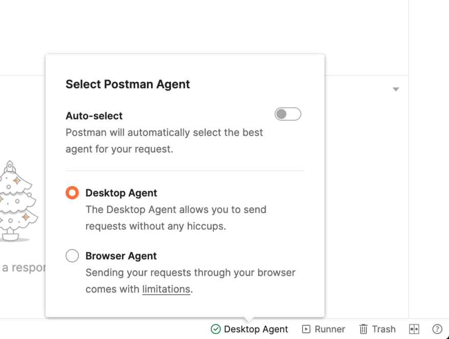 Select the proper Postman Agent