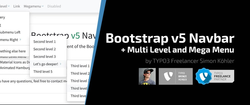Cover image for Bootstrap v5 Navbar Component with Multi-Level and Mega Menu