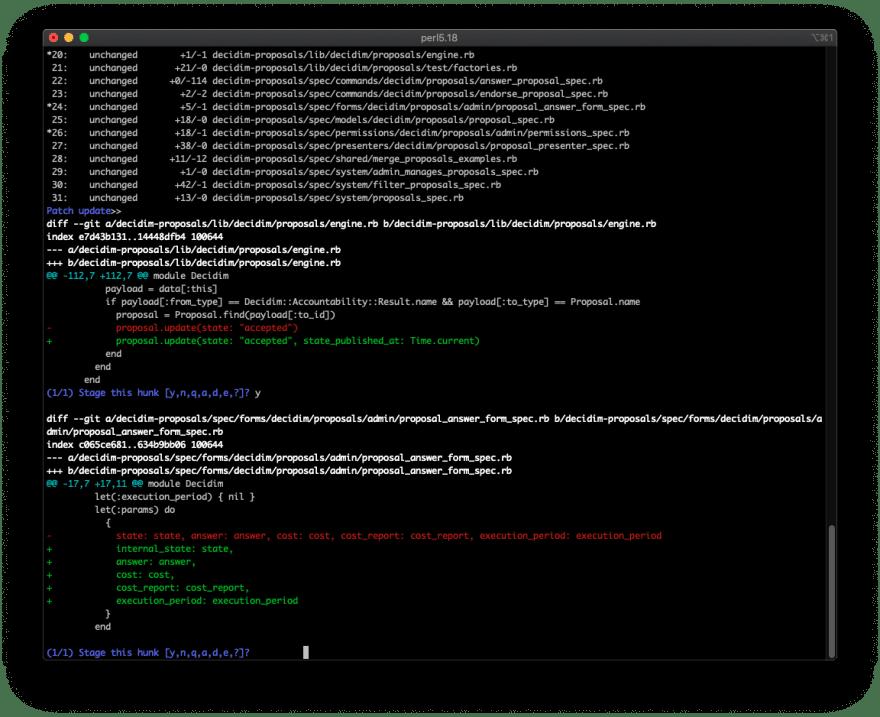 Git CLI's interactive add interface