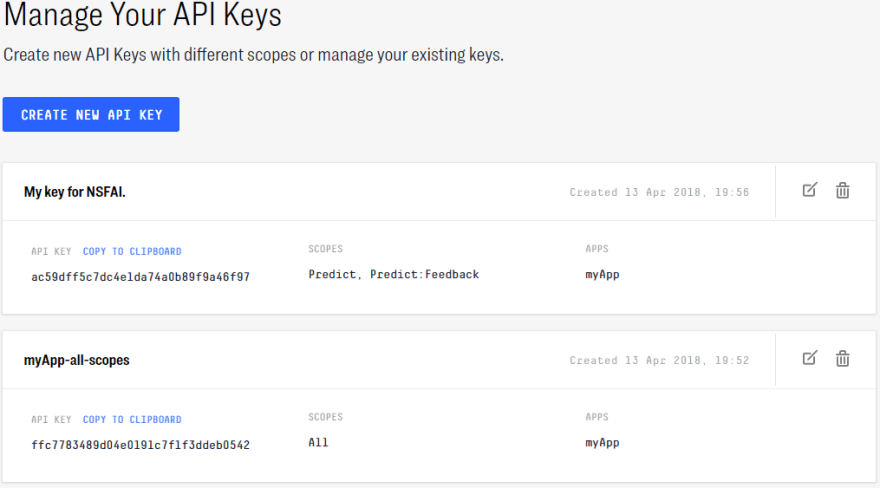clarifai api keys new