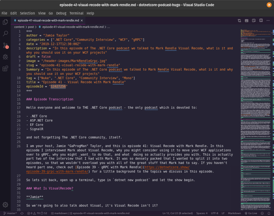 VS Code with the front matter for episode 41s show notes