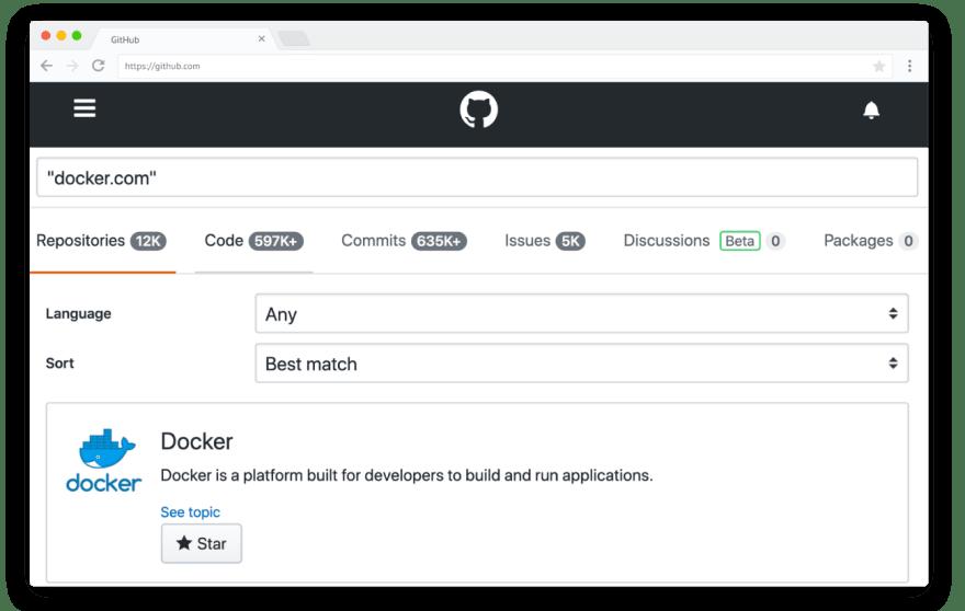 Docker-search-GitHub