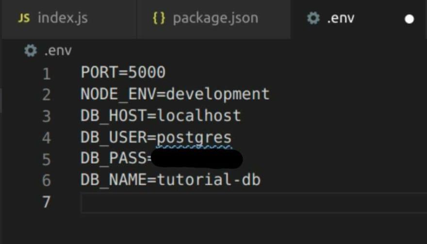 env variables for database