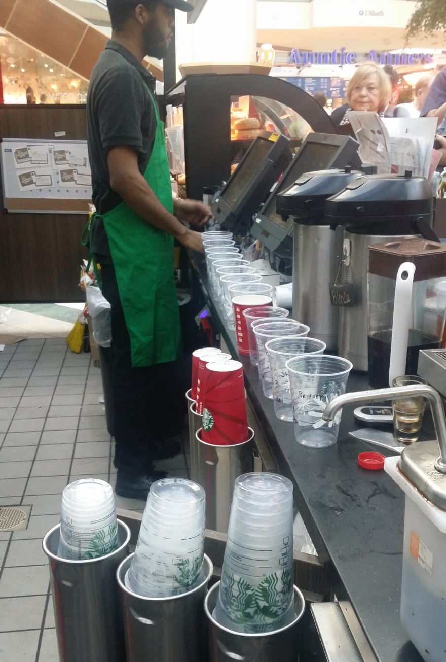 The struggle was real at Starbucks. So many drinks to make.