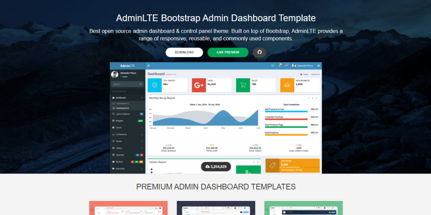 AdminLTE Admin Dashboard - Product Screen.