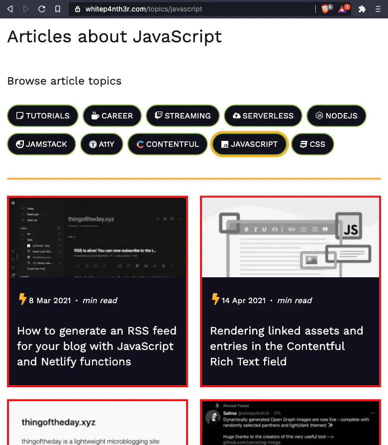 A screenshot of a JavaScript topic page on my blog site.