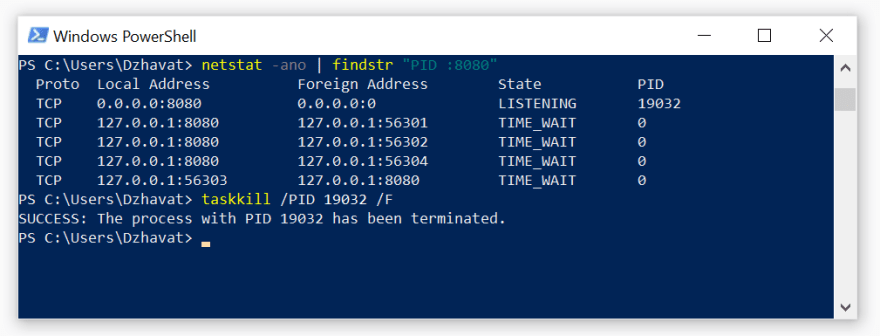 Terminating a process by PID