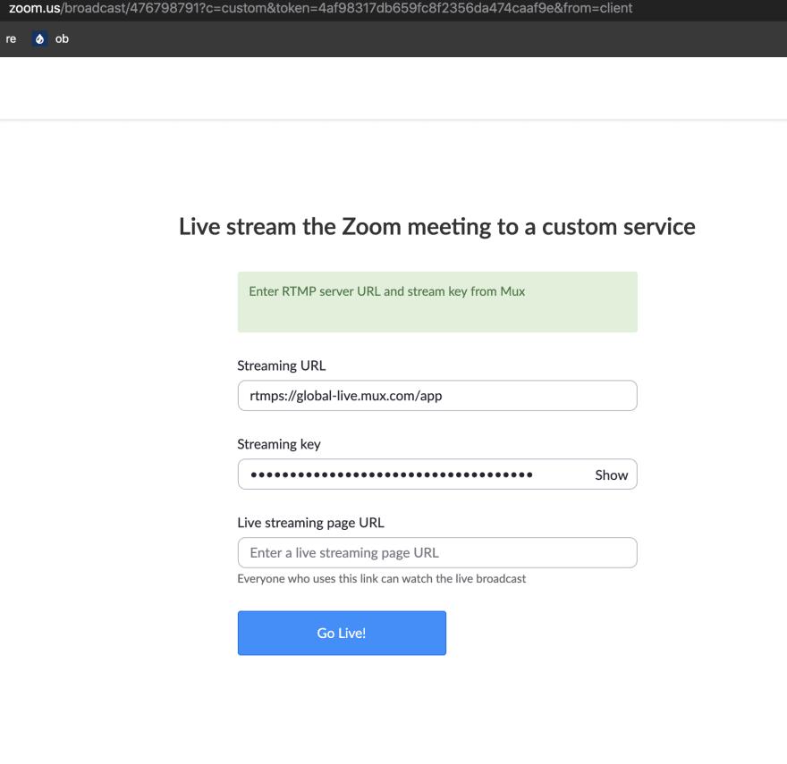 Zoom enter RTMP details