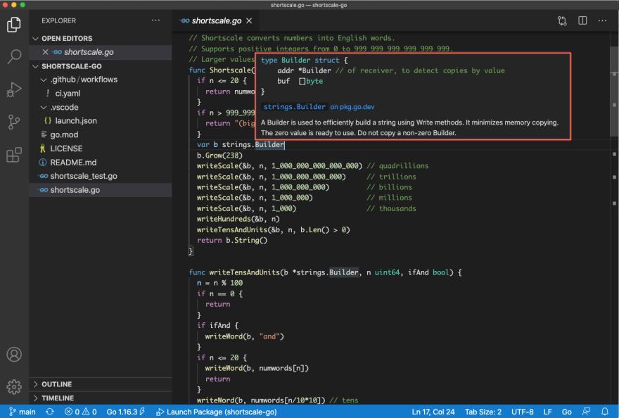 VS Code screenshot showing hover over strings.Builder