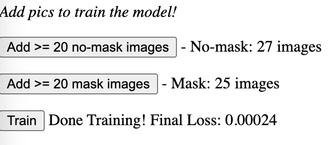lossValue and training information after uploading training images